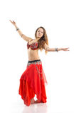 Dancing girl. In red traditional dress, isolated image Stock Image