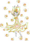 Dancing girl RGB. Dancing girl figure in a good mood vacation relaxation Royalty Free Stock Images