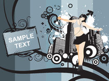Dancing girl and sample text on grunge Stock Images