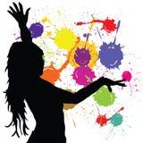 Dancing girl silhouette art vector Stock Photography