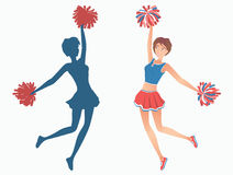 Dancing girl silhouette. Club dancer with pom-poms and her silhouette. Vector illustration EPS-8 Stock Images
