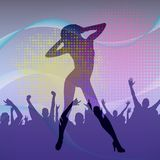 The dancing girl silhouette in nightclub with dancing crowd. Vector illustration. The dancing girl silhouette in a nightclub with dancing crowd background Stock Image