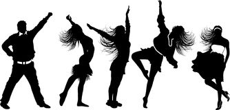 Dancing girl silhouettes and boy Stock Photo