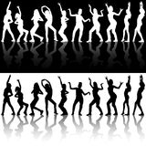 Dancing Girl Silhouettes Royalty Free Stock Photos