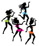 Dancing girl silhouettes Stock Photos