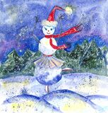 Dancing girl snowman on the background of the winter forest, watercolor drawing