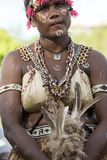 Dancing Girl Solomon Islands with handmade traditional costume royalty free stock photo