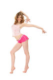 Dancing girl in sportswear Stock Images