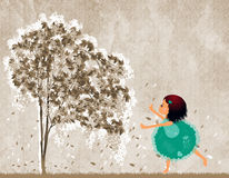 Dancing girl. Teen girl dancing under a tree vector illustration