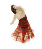 Dancing girl in traditional clothes Stock Photo