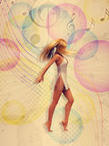 Dancing Girl Vintage Background Royalty Free Stock Photography