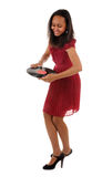 Dancing girl with vinyl disk Stock Image