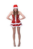 Dancing girl weared in santa clause dress Royalty Free Stock Images