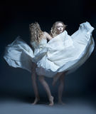 Dancing girl in wedding dress with multiexposition Royalty Free Stock Photo