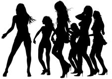 Dancing girls. Vector drawing silhouettes of dancing girls in a nightclub Royalty Free Stock Images