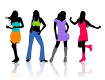 Dancing girls. An illustration of colorful silhouettes of dancing girls Royalty Free Stock Images