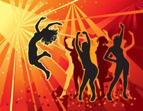 Dancing  girls. Festive party in the nightclub Royalty Free Stock Images
