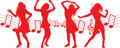 Dancing girls stock illustration