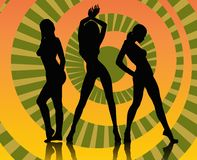 Dancing girls. With colorful background Royalty Free Stock Photography
