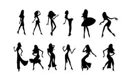 Dancing girls. Vector image of silhouettes of dancing women. may be use for party posters and cards Stock Images