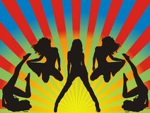 Dancing girls. Beautiful dancing girls -  illustration Stock Images