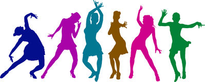 Dancing girls. Six different dancing girls in action silhouettes Royalty Free Stock Images