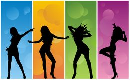 Dancing girls. Abstract  illustration of dancing girls Stock Photos