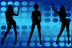Dancing girls. Silhouettes of dancing girls in a party Royalty Free Stock Photo