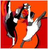 Dancing girls. Illustration of dancing girls on orange and red background Stock Photos