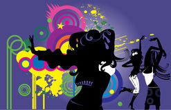 Dancing girls. Silhouettes of three dancing girls Royalty Free Stock Image