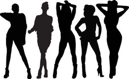 Dancing girls. The silhouette of dancing girls Royalty Free Stock Photo