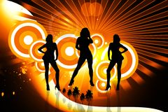 Dancing girls in abstract background. 2d illustration of Dancing girls in color background Stock Image