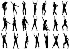 Dancing girls in action illustration. Group of dancing girls in action  illustration Royalty Free Stock Image