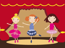 Dancing girls in ballet theater. Vector graphic card with nice girls dancing ballet on the stage Stock Photography