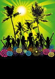 Dancing Girls Beach Party Flyer or Poster Royalty Free Stock Photography