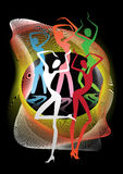 Dancing girls at the carnival. Colorful stylized silhouettes of dancing girls at the carnival Stock Photo