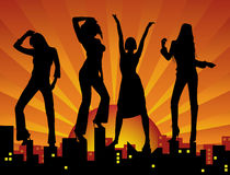 Dancing girls on city vector illustration