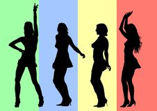 Dancing girls on color. Vector drawing silhouettes of dancing girls in a nightclub Stock Photos
