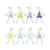 Dancing girls in colorful dresses illustration. Cute dancing girls in colorful flowery and polka dot dresses on white background Royalty Free Stock Photography
