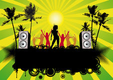 Dancing Girls Disco Beach Party Flyer Royalty Free Stock Image