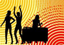 Dancing girls and dj Stock Photo