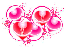 Dancing girls in hearts. Dancing girls motifs in hearts with circles Royalty Free Stock Photo