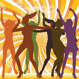 Dancing girls with ray background. Dancing girls silhouettes with sunburst background Royalty Free Stock Photo