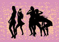 Dancing girls on red Royalty Free Stock Images