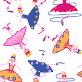 Dancing girls seamless pattern. Seamless pattern of dancing girls embroidery Royalty Free Stock Photo