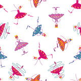 Dancing girls seamless pattern. On a white background Stock Photos