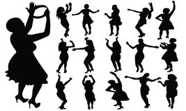 Dancing girls silhouette, vector. Dancing girls black color silhouette, vector ilustration Royalty Free Stock Images