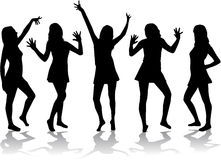Dancing girls - silhouettes. Vector work Stock Photos