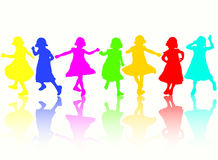 Dancing girls silhouettes. Happy group Stock Photos