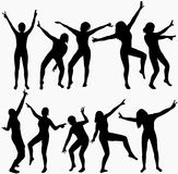 Dancing girls silhouettes. Happy people Stock Photo